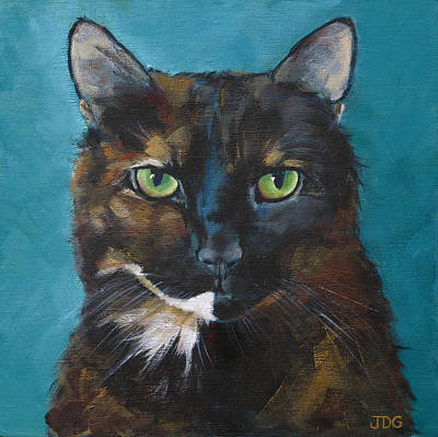 Tortie Painting - Tortoiseshell Cat by Julie Dalton Gourgues