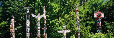 Totem Poles In A A Park, Stanley Park Art Print