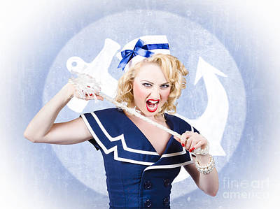 Tough Pin-up Sailor Breaking Rope. Navy Seal Art Print by Jorgo Photography - Wall Art Gallery