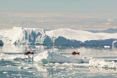 Albedo Photograph - Tourist Boat Trips Sail Through Icebergs by Ashley Cooper