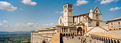 Assisi Church Photograph - Tourists At A Church, Basilica Of San by Panoramic Images