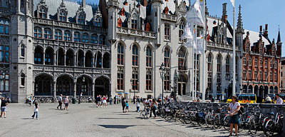 Tourists At A Market, Bruges, West Art Print by Panoramic Images