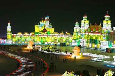 Tourists At The Harbin International Art Print by Panoramic Images