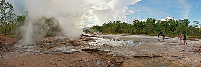 Papua New Guinea Photograph - Tourists Looking At A Hot Spring by Panoramic Images