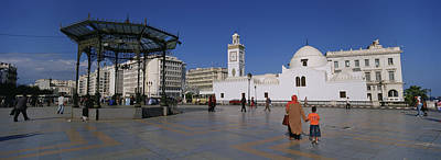 Tourists Walking In Front Of A Mosque Art Print by Panoramic Images