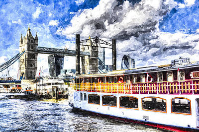Tower Of London Digital Art - Tower Bridge And The Elizabethan by David Pyatt