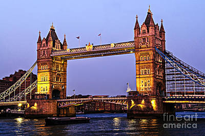 Illuminated Photograph - Tower Bridge In London At Dusk by Elena Elisseeva