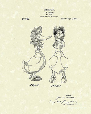 Toys Drawing - Toy Duck 1915 Patent Art by Prior Art Design