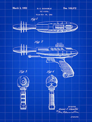Toy Ray Gun Patent 1952 - Blue Art Print