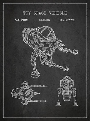 Android Digital Art - Toy Space Vehicle Patent by Aged Pixel