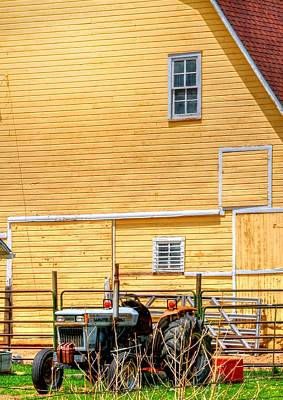 Jerry Sodorff Royalty-Free and Rights-Managed Images - Tractor and Barn 14634 by Jerry Sodorff