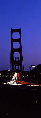 Traffic On A Suspension Bridge, Golden Art Print by Panoramic Images