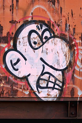 Graffiti Photograph - Train Art Cartoon Face by Carol Leigh