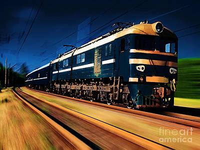 Train Mixed Media - Train Painting by Marvin Blaine