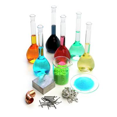 Crystalline Photograph - Transition Elements And Their Salts by Science Photo Library