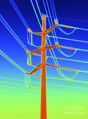 Transmission Tower Thermogram Art Print by GIPhotoStock