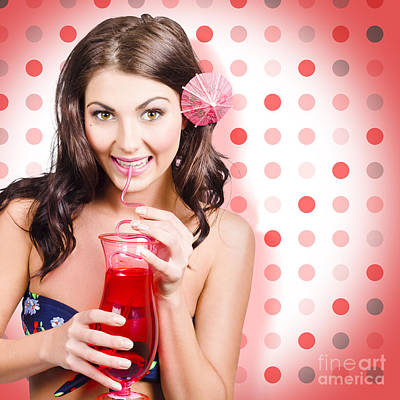 Travel Holiday Woman Drinking Red Cocktail Art Print