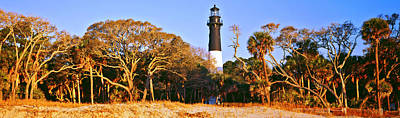 Beaufort Photograph - Trees Around A Lighthouse, Hunting by Panoramic Images