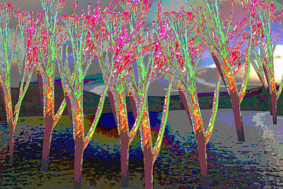 Mixed Media - Trees Around Faal Season  Digitally Painted Photograph Taken Around Poconos  Welcome To The Pocono M by Navin Joshi
