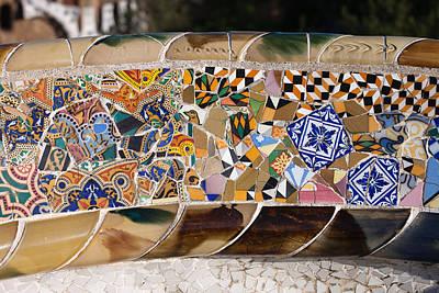 Trencadis Mosaic At Gaudi Park Guell In Barcelona Art Print by Artur Bogacki