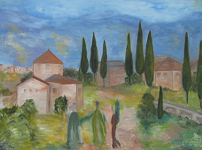Tres Visitas En Segovia Art Print