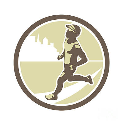 Jogging Digital Art - Triathlete Running Side Circle Retro by Aloysius Patrimonio