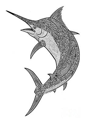 Tribal Black Marlin Art Print by Carol Lynne