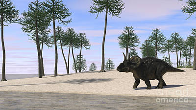 Triceratops Digital Art - Triceratops Walking Along The Shoreline by Kostyantyn Ivanyshen