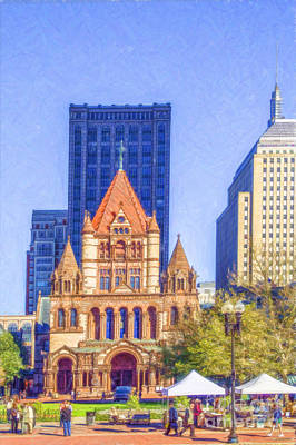 Digital Art - Trinity Church Boston Usa by Liz Leyden