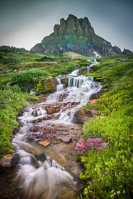 Triple Falls Stream Glacier National Park Art Print