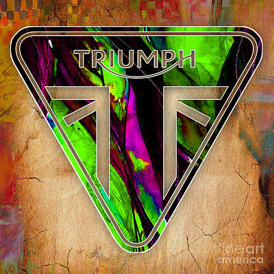 Mixed Media - Triumph Motorcycle Badge by Marvin Blaine
