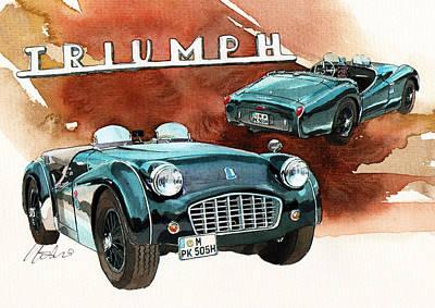Roadster Painting - Triumph Tr3 by Yoshiharu Miyakawa