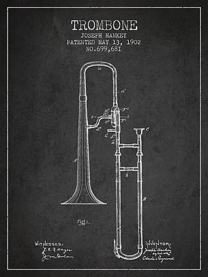 Trombone Drawing - Trombone Patent From 1902 - Dark by Aged Pixel