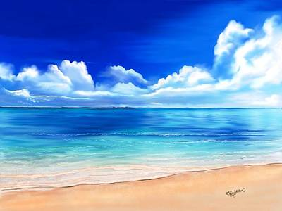 Art Print featuring the digital art Tropical Blue by Anthony Fishburne