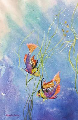 Colorful Tropical Fish Painting - Tropical Fantasy Iv by Laura Lee Zanghetti