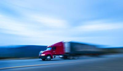 Truck On Motorway Art Print by Science Photo Library