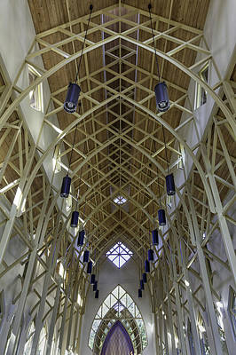 Trussed Arches Of Uf Chapel Art Print by Lynn Palmer
