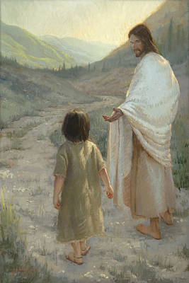 Jesus With Girl Painting - Trust In The Lord by James L Johnson