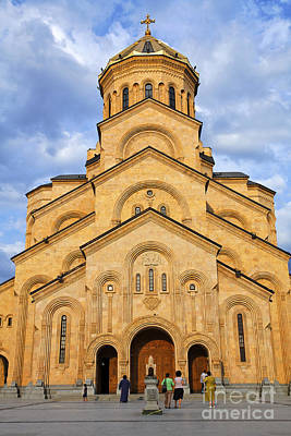 Sameba Photograph - Tsminda Sameba Cathedral Tbilisi by Robert Preston