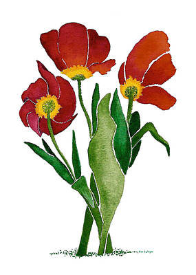 Art Print featuring the painting Tulip Trio by Nan Wright