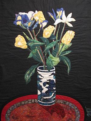 Still Life Tapestries Textiles Tapestry - Textile - Tulips And Irises by Lynda K Boardman