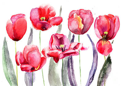 Invitations Painting - Tulips Flowers  by Regina Jershova