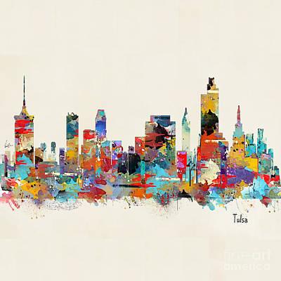 Painting - Tulsa Oklahoma Skyline by Bri B