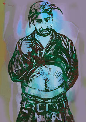 Rolling Stone Drawing - Tupac Shakur Pop Art Poster by Kim Wang
