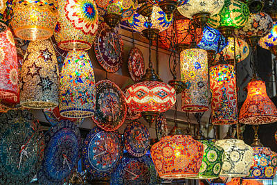 Photograph - Turkish Glass Lamps For Sale In Istanbul Market by Brandon Bourdages