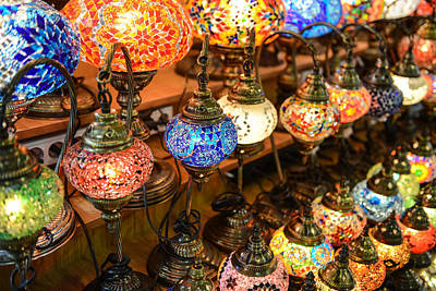 Photograph - Turkish Lamps For Sale In The Grand Bazaar Istanbul Turkey by Brandon Bourdages