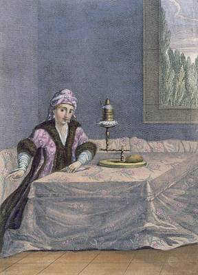 Turkish Woman Spinning Thread, C.1708 Print by French School