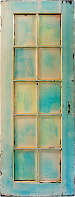 Turquoise And Pale Yellow Panel Door Art Print by Asha Carolyn Young