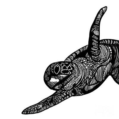 Cute Animals Digital Art - Turtle by HD Connelly