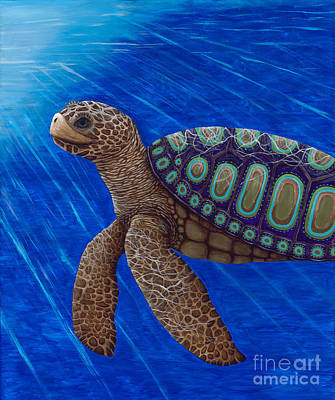 Painting - Turtle Painting Bomber Triptych 2 by Rebecca Parker
